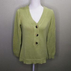 Liz Claiborne Green 100% Cotton Pullover Sweater M